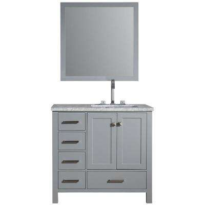 Cambridge 37 in. Vanity in Grey with Carrara Marble Vanity Top in White with White Basin and Mirror