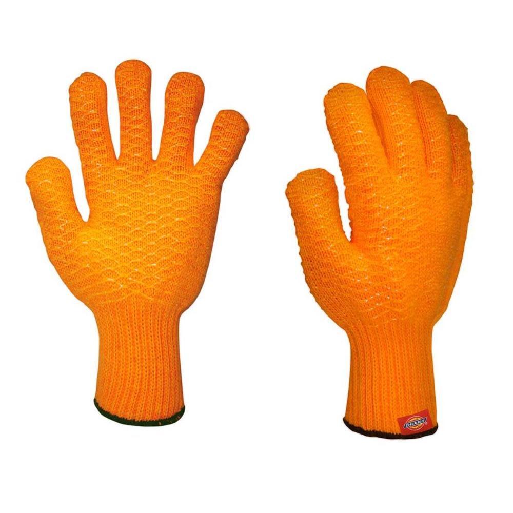 Dickies Orange Machine Knit Glove with Crisscross PVC Coating