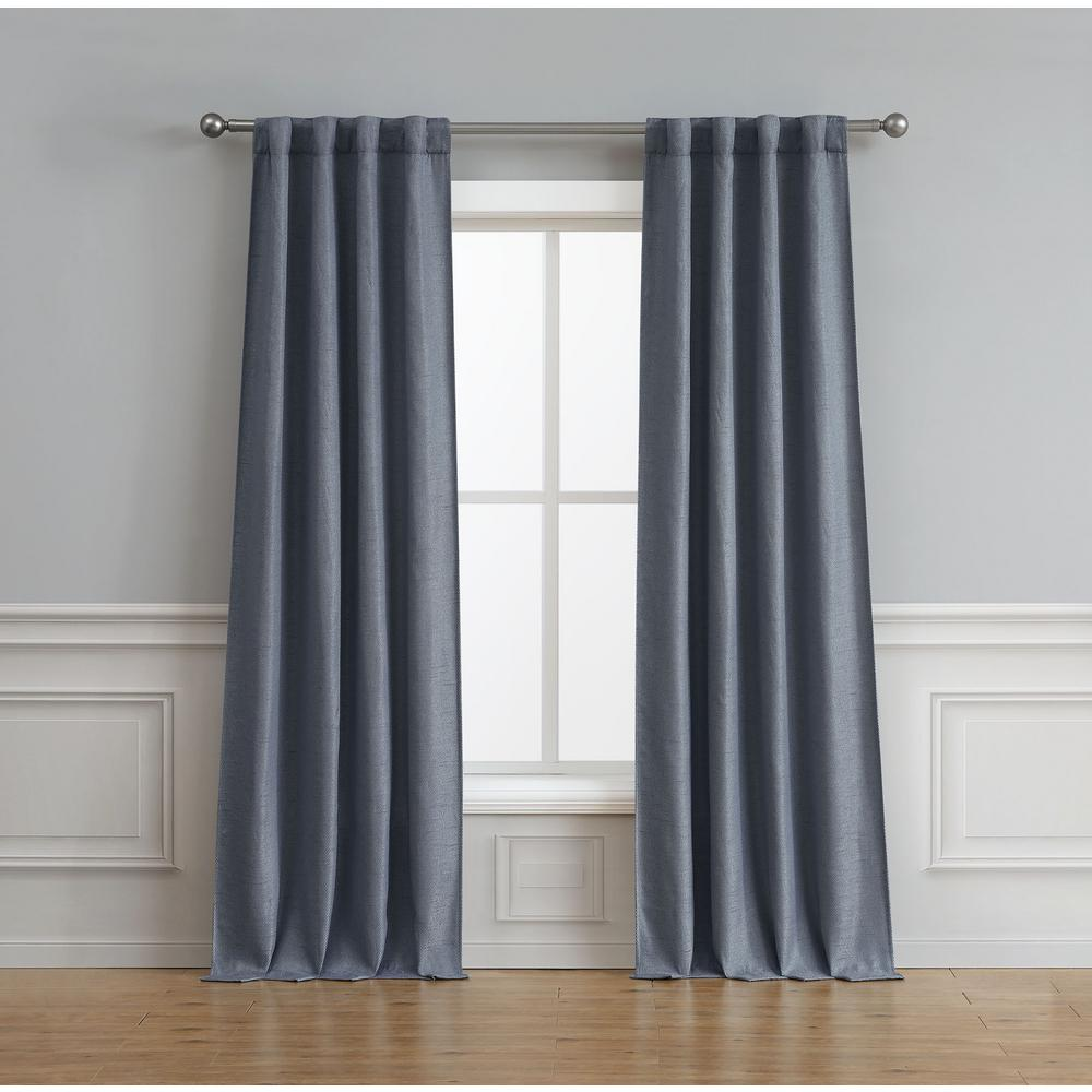 Bella Luna Astrid Thermal Room Darkening Backtab 76 in. x 84 in. Window Curtain Pair, Navy