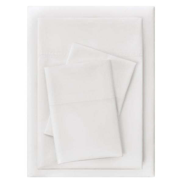 Vintage Washed Cotton Percale 4-Piece King Sheet Set in White