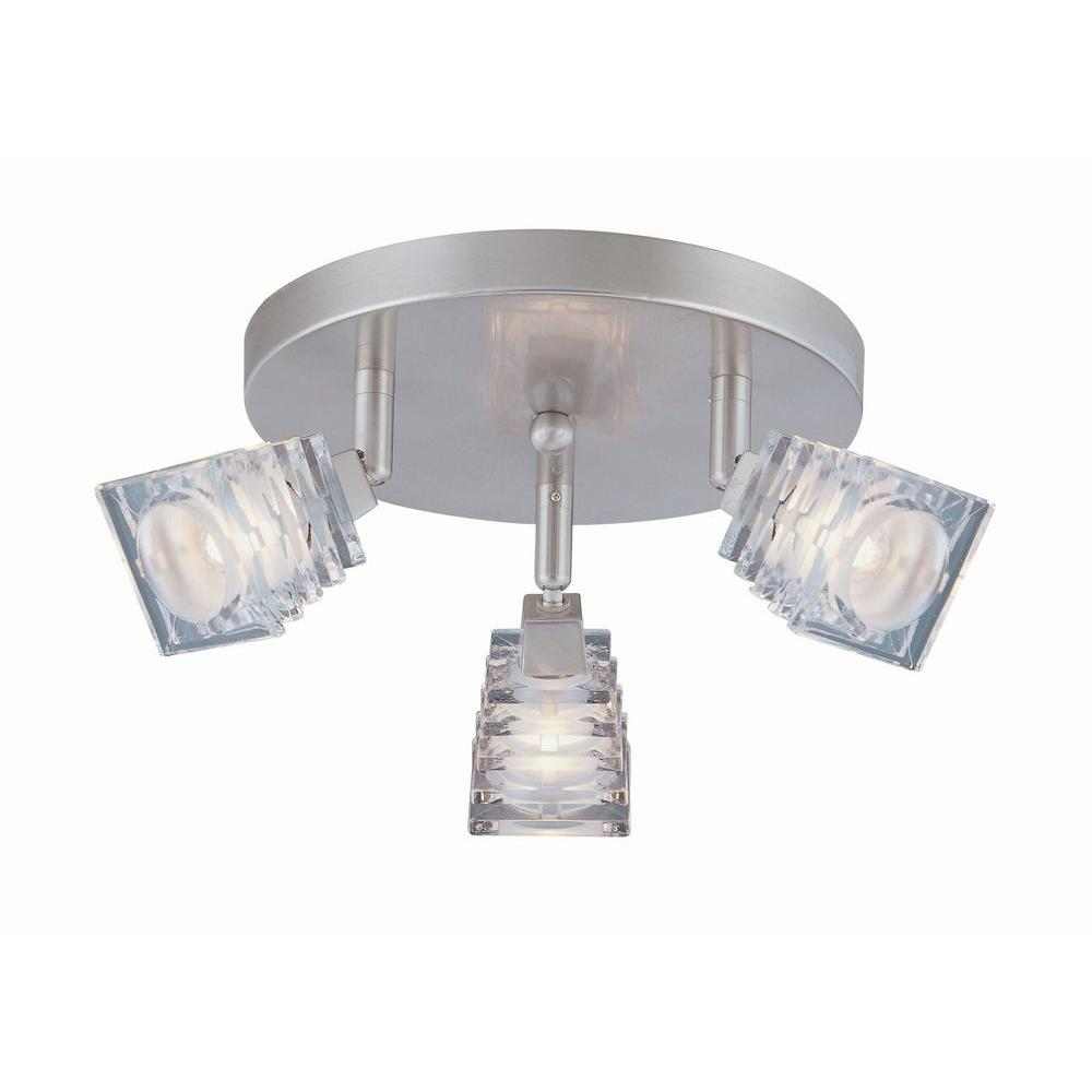 Illumine Designer 3-Light Polished Steel Halogen Ceiling Semi Flush Mount