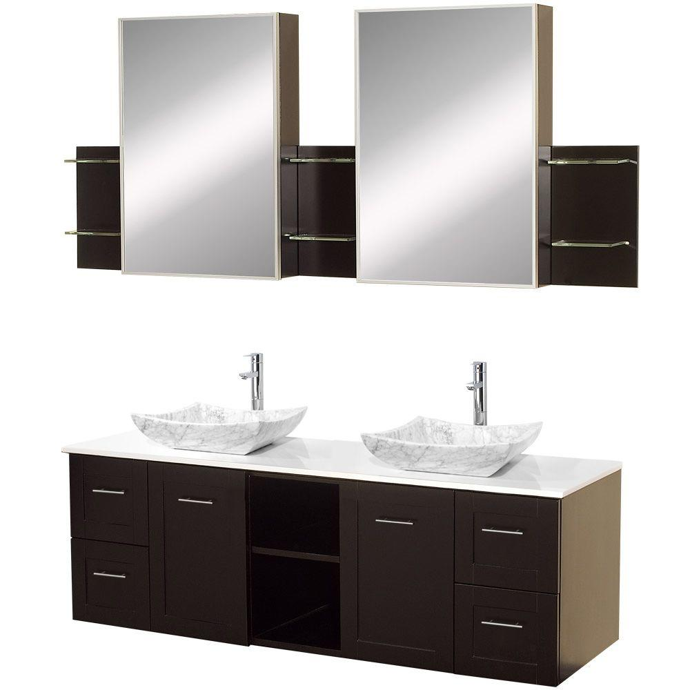 Wyndham Collection Avara 60 in. Vanity in Espresso with Double Basin Stone Vanity Top in White and Medicine Cabinets