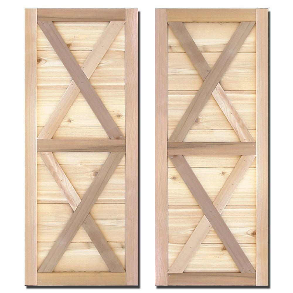 Design Craft MIllworks 12 in. x 43 in. Natural Cedar Board-N-Batten Southerland Shutters Pair