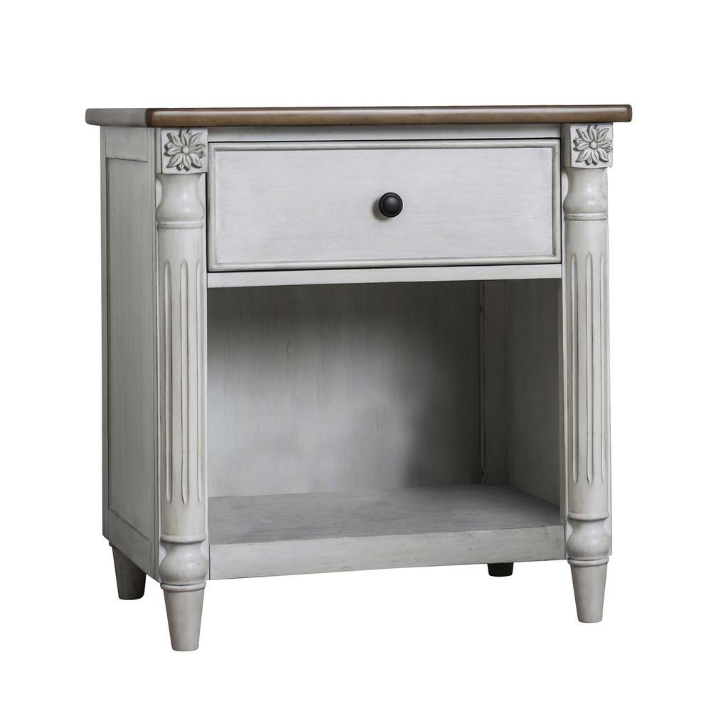 Furniture of America Emelia 1-Drawer Antique White Nightstand IDF-7441N