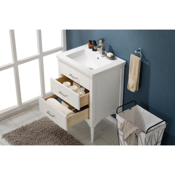 Design Element Mason 24 In W X 18 In D Bath Vanity In White With Porcelain Vanity Top In White With White Basin S01 24 Wt The Home Depot