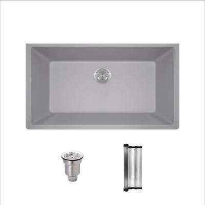 All-in-One Undermount Granite Composite 32-5/8 in. Single Bowl Kitchen Sink in Silver