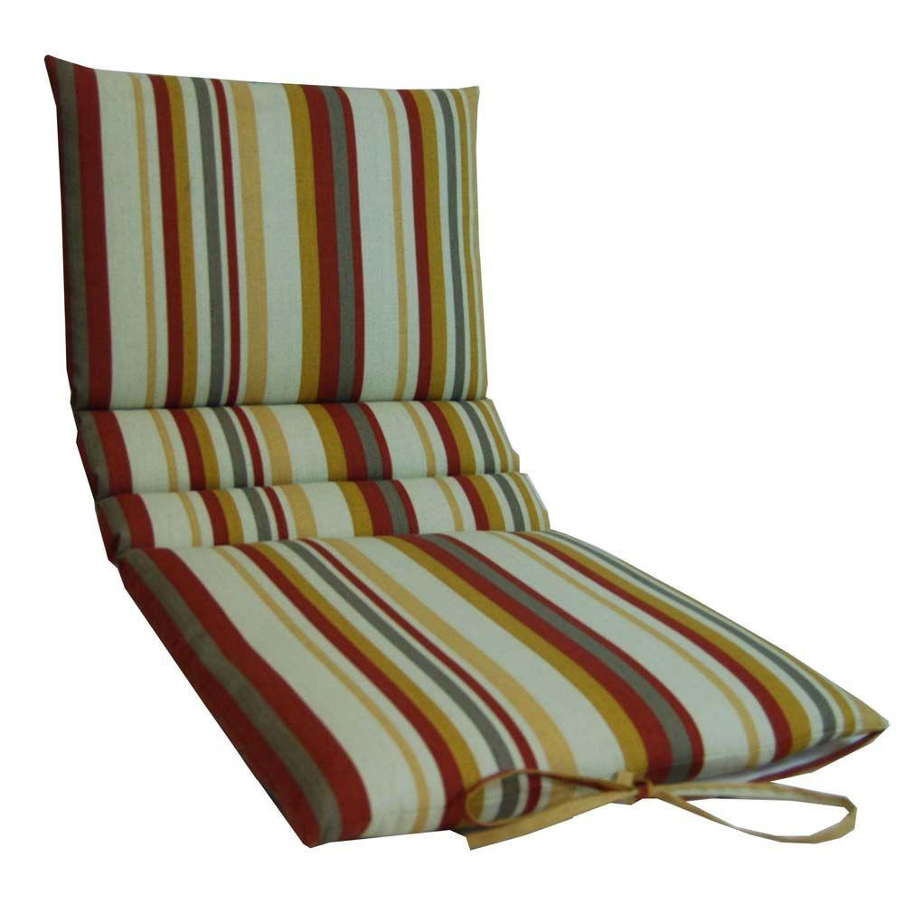 null Argent Stripe Persimmon Outdoor Chaise Lounge Cushion-DISCONTINUED