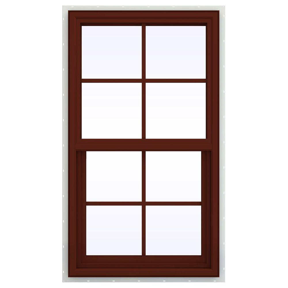 JELD-WEN 23.5 in. x 41.5 in. V-4500 Series Single Hung Vinyl Window with Grids - Red