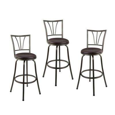 Stetson 36 in. Dark Brown Cushioned Adjustable Height Swivel Bar Stool (Set of 3)