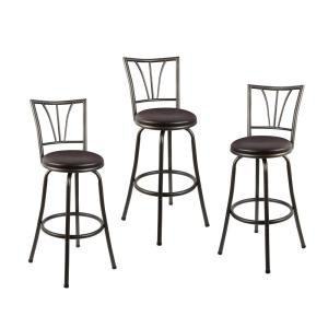 Remarkable Stetson 36 In Dark Brown Cushioned Adjustable Height Swivel Bar Stool Set Of 3 Lamtechconsult Wood Chair Design Ideas Lamtechconsultcom