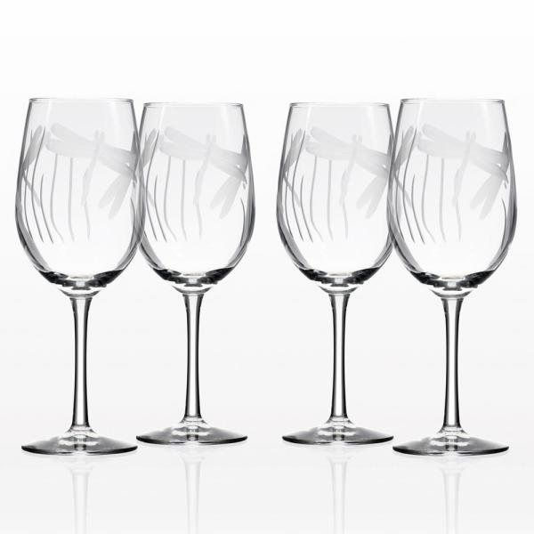 Rolf Glass Dragonfly 12 oz. Clear White Wine Glass (Set of