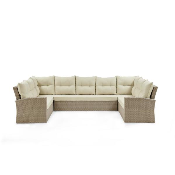 Canaan Brown All-Weather Wicker Outdoor Horseshoe Sectional Sofa with Cream Cushions
