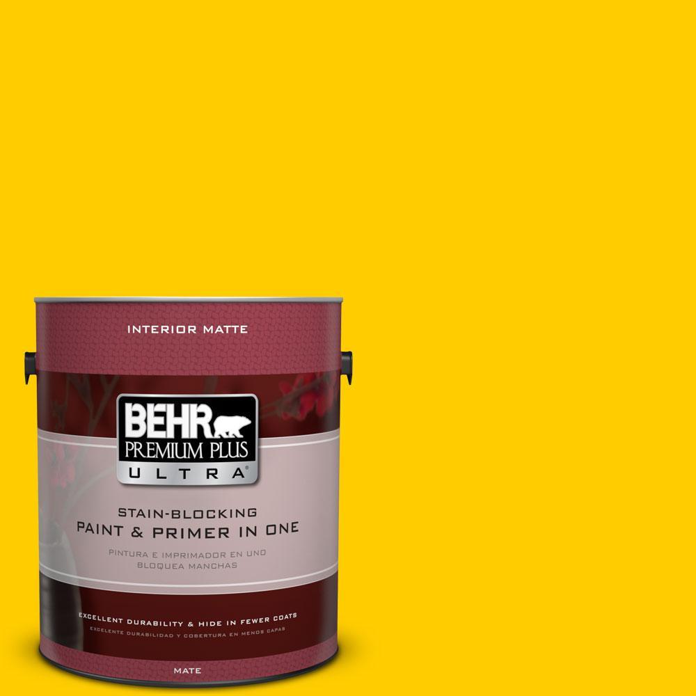 BEHR Premium Plus Ultra 1 gal. #380B-7 Marigold Matte Interior Paint and Primer in One