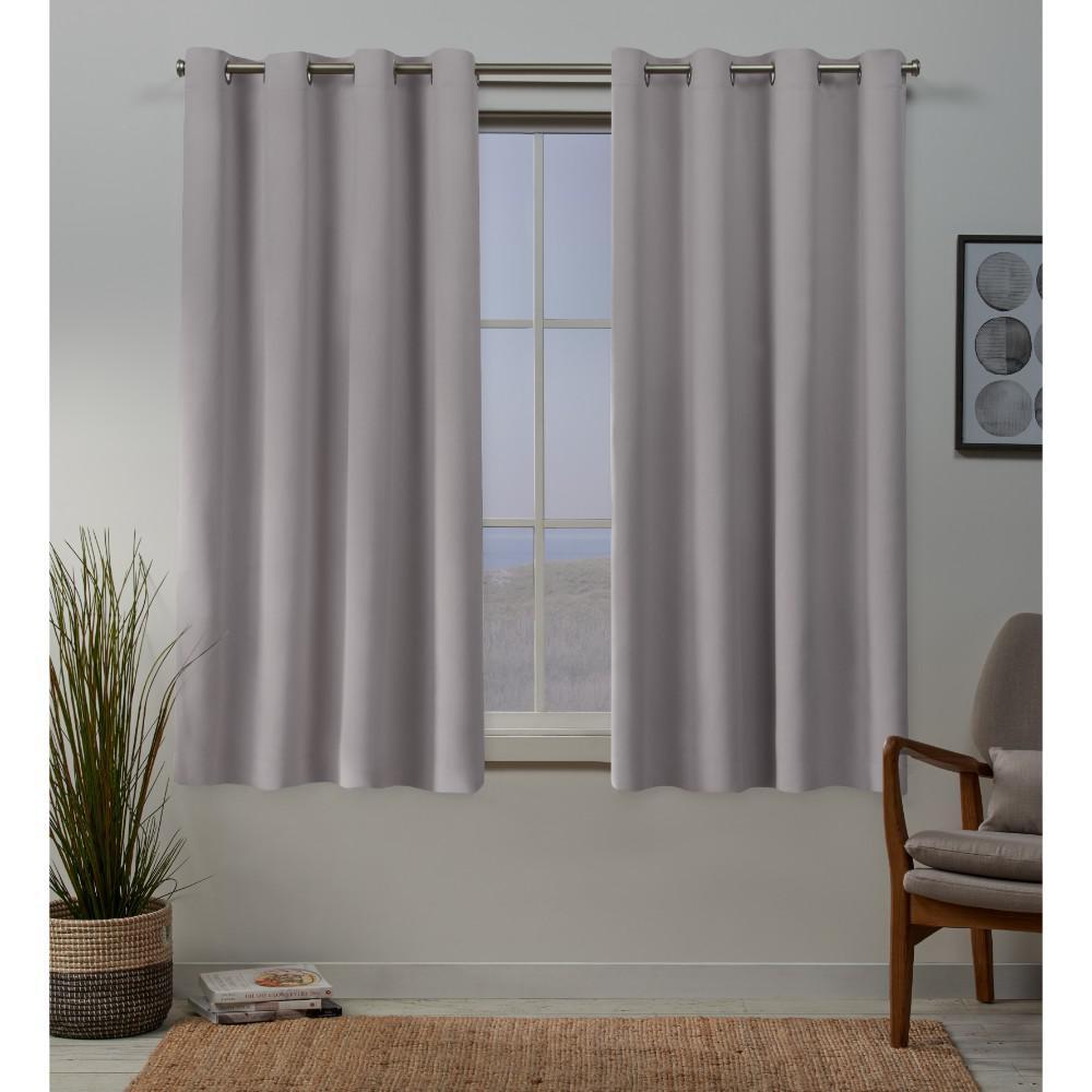 Sateen 52 in. W x 63 in. L Woven Blackout Grommet Top Curtain Panel in Dusty Lavender (2 Panels)