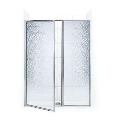 Legend Series 40 in. x 69 in. Framed Hinged Shower Door with Inline Panel in Chrome with Obscure Glass