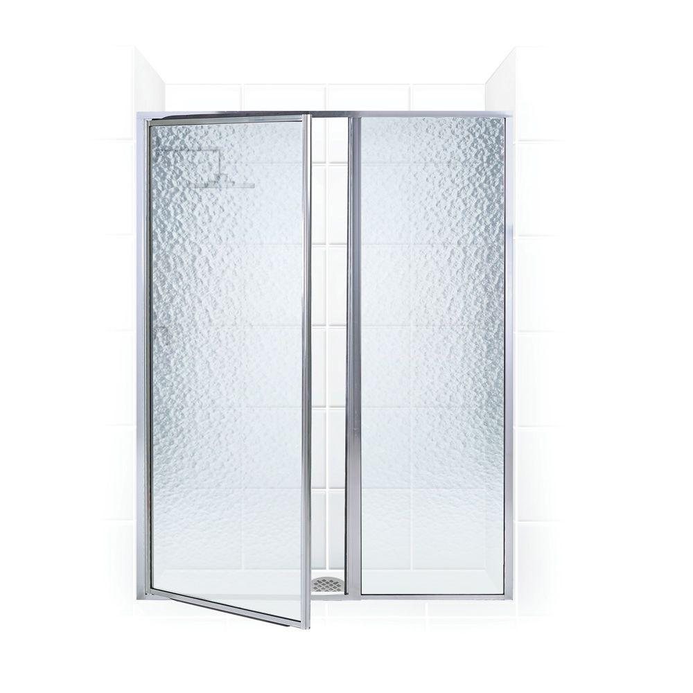 Coastal Shower Doors Legend Series 59 in. x 69 in. Framed Hinged Shower Door with Inline Panel in Chrome with Obscure Glass
