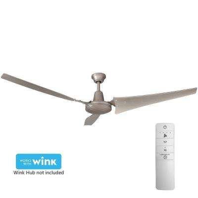 Industrial 60 in. Indoor Brushed Steel Smart Ceiling Fan with Wall Control and WINK Remote Control