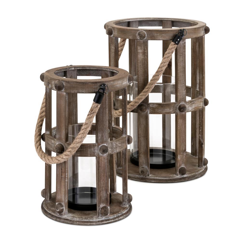 Basel Brown Wood Lanterns (Set of 2)