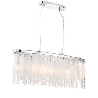 Candice Collection 9-Light Polished Chrome Chandelier with Granular Glass Shade