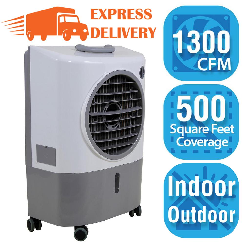 Hessaire 1 300 Cfm 2 Speed Portable Evaporative Cooler Swamp Cooler For 500 Sq Ft Mc18m The Home Depot