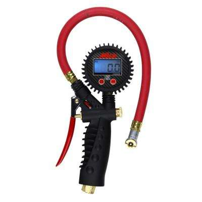 Pro Digital Pistol Grip Inflator Gauge with Ball Foot Chuck and 15 in. Hose