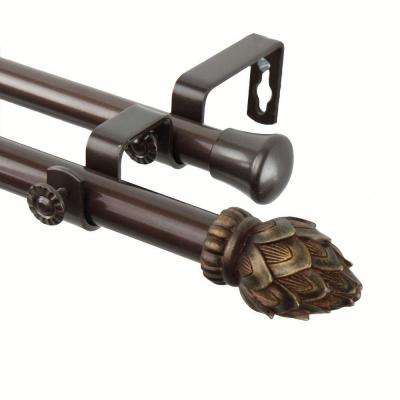 48 in. - 84 in. Telescoping Double Curtain Rod Kit in Cocoa with Bud Finial