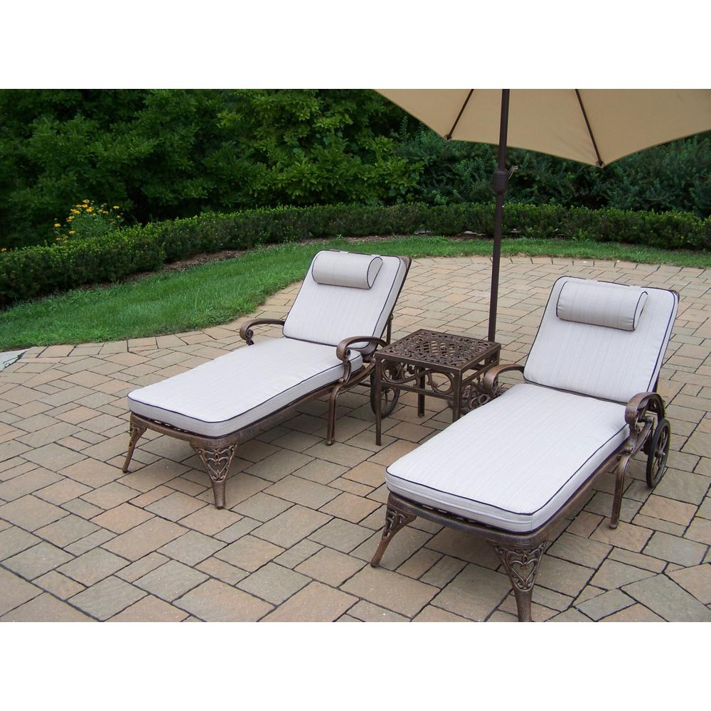5-Piece Aluminum Outdoor Chaise Lounge Set with Tan Cushions and Beige