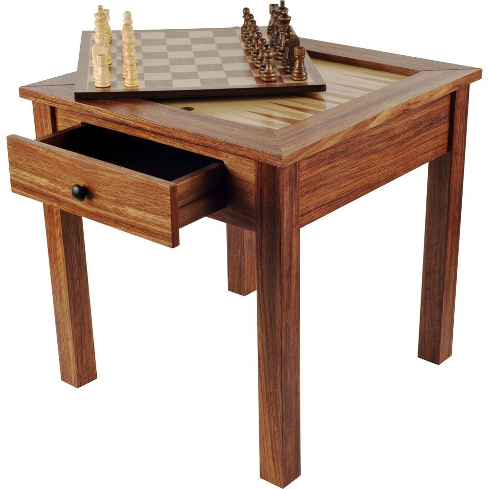 Trademark Games Deluxe Wooden 3 In 1 Chess And Backgammon Table Set