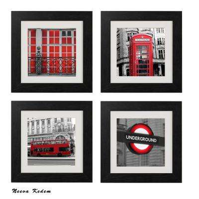 "Four 10 in. x 10 in. ""Red London"" by Neeva Kedem Framed Printed Wall Art"