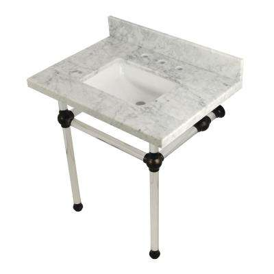 Square-Sink Washstand 30 in. Console Table in Carrara Marble with Acrylic Legs in Oil Rubbed Bronze