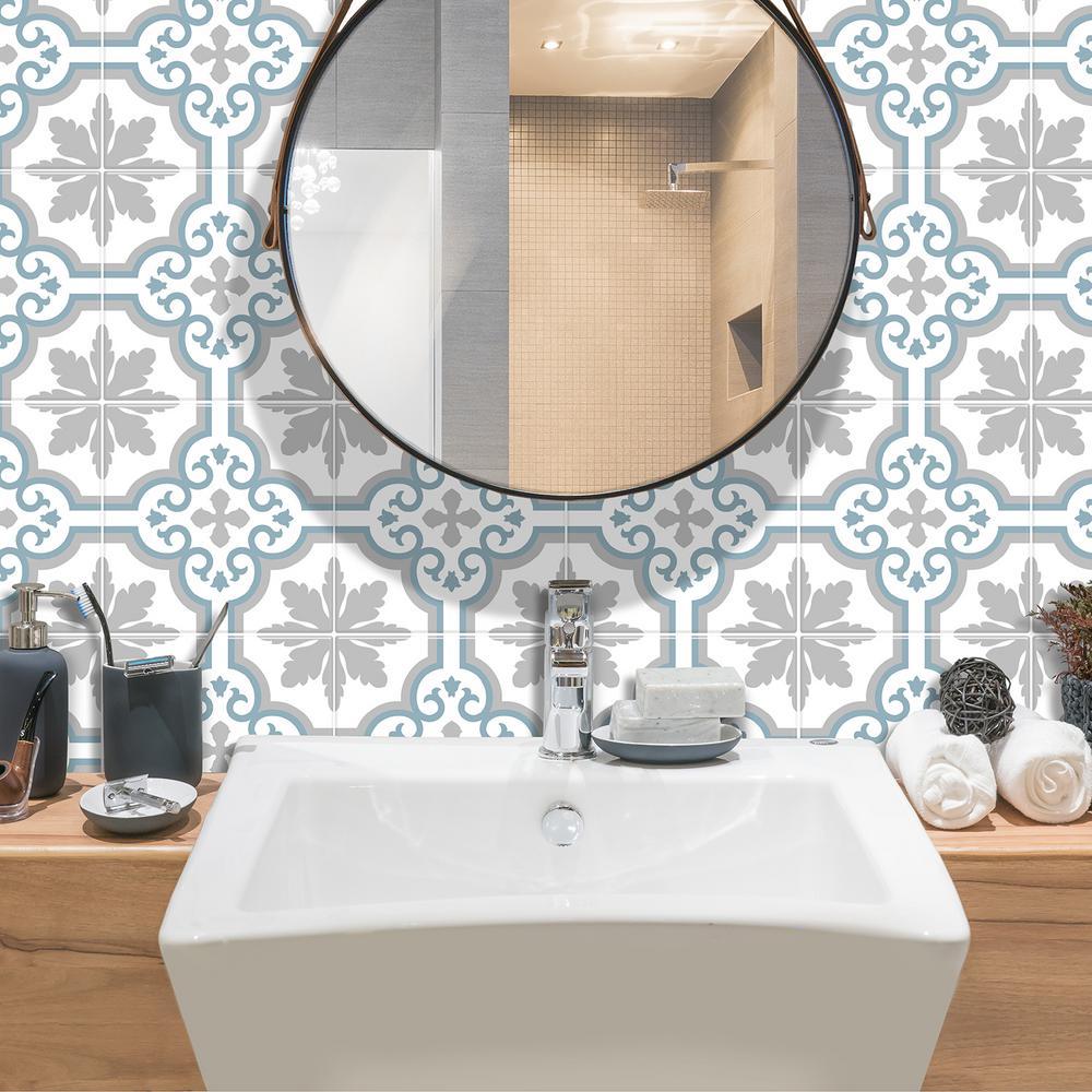 Vintage Girona 7.75 in W x 7.75 in H Blue Peel and Stick Self-Adhesive Mosaic Wall Tile Backsplash (4-Pack)