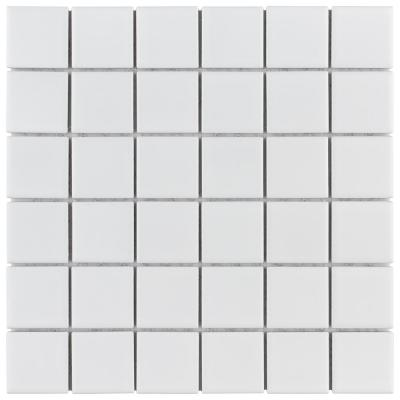 Metro Quad Matte White 11-3/4 in. x 11-3/4 in. x 7 mm Porcelain Mosaic Tile (9.79 sq. ft. / case)