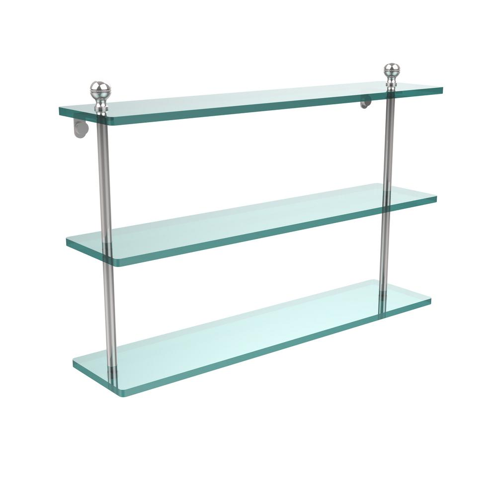 Allied Brass Mambo 22 in. L  x 15 in. H  x 5 in. W 3-Tier Clear Glass Bathroom Shelf in Polished Chrome