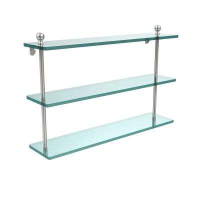 Mambo 22 in. L  x 15 in. H  x 5 in. W 3-Tier Clear Glass Bathroom Shelf in Polished Chrome
