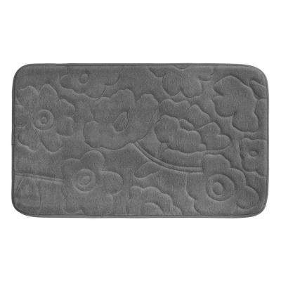 Stencil Floral Dark Gray 20 in. x 34 in. Memory Foam Bath Mat