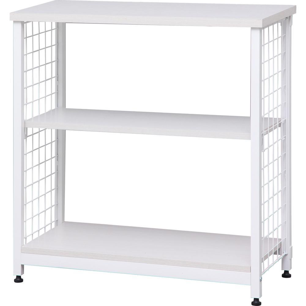 Off-White 2-Tier Wide Open Mesh Wood-Top Shelf
