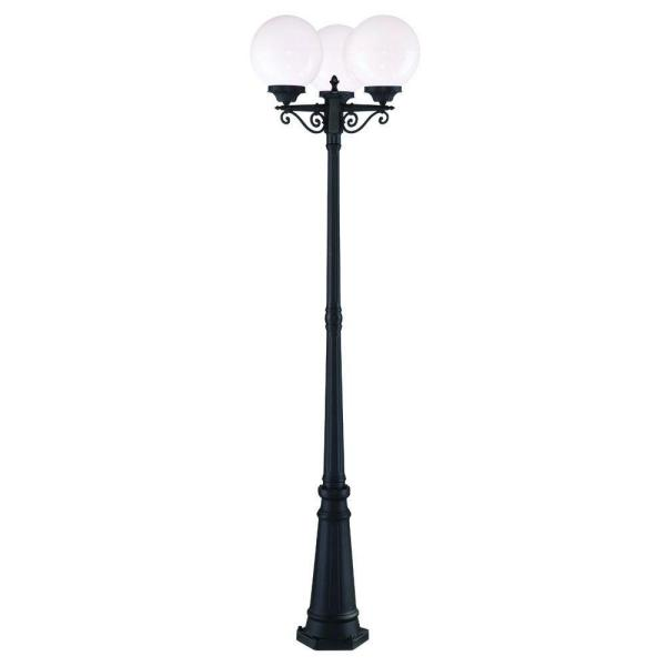 Havana 3-Head 3-Light Matte Black Outdoor Post Light Combination