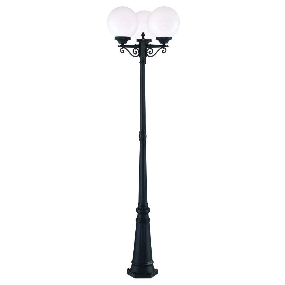 Acclaim Lighting Havana 3-Head 3-Light Matte Black Outdoor Post Light Combination