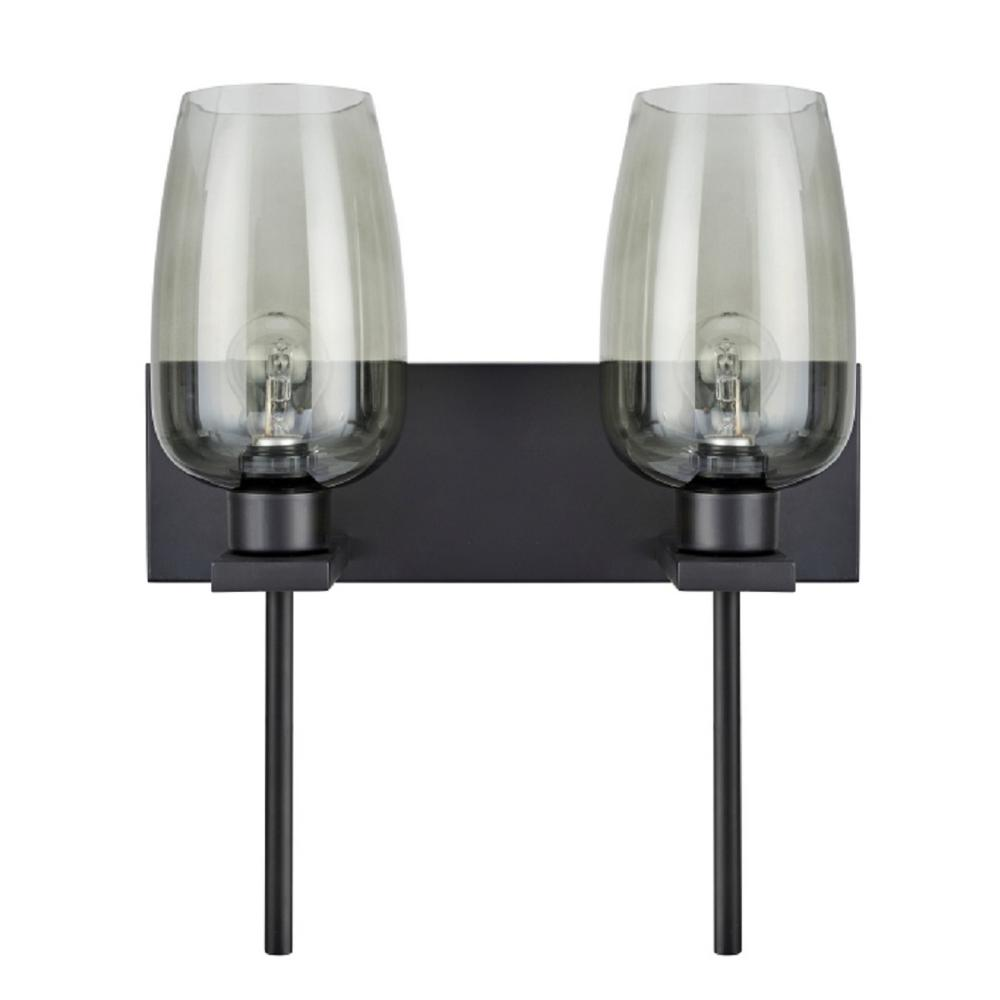 2-Light Oil Rubbed Bronze Vanity Light with Smoke Glass Shade