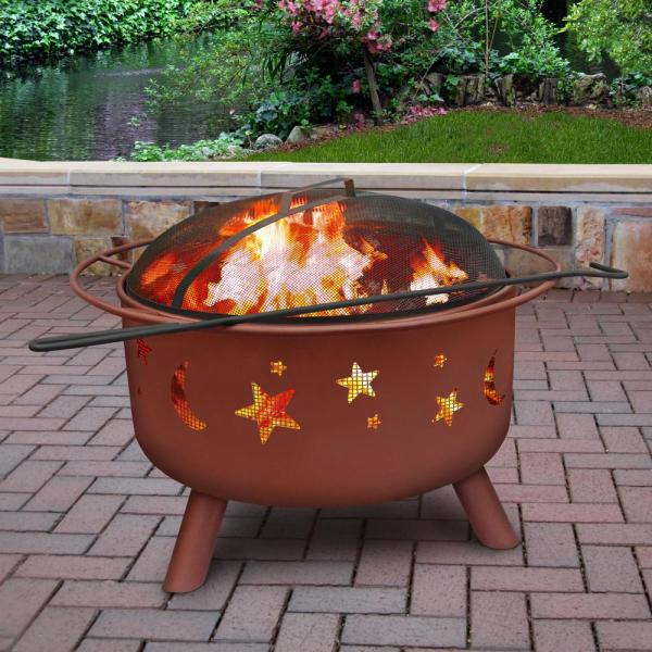 Landmann 24 In Big Sky Stars And Moons Fire Pit In Georgia Clay With Cooking Grate 28335 The Home Depot