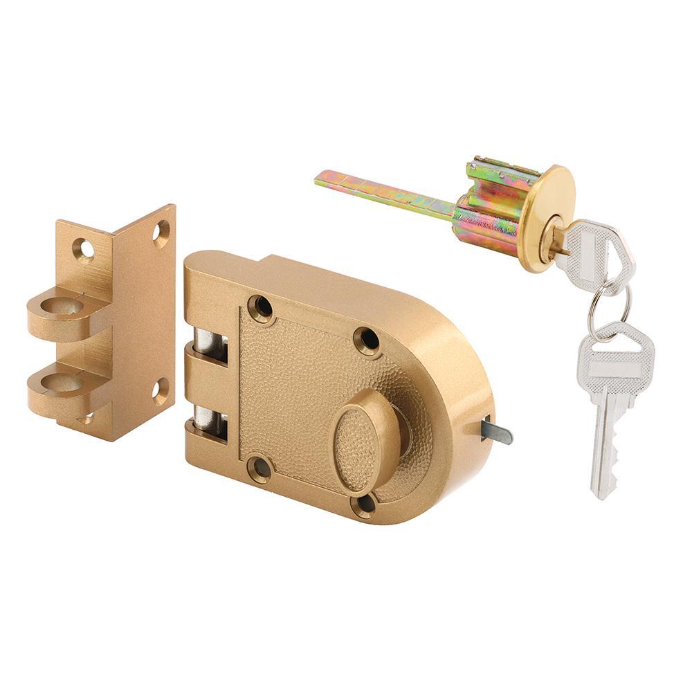 Jimmy-Resistant Deadlock, Diecast, Brass Color, Angle Strike, Single Cylinder