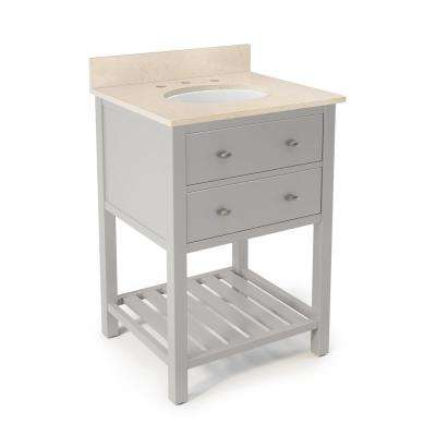 Harrison 25 in. W x 22 in. D Vanity in Gray with Marble Vanity Top in Beige with White Basin