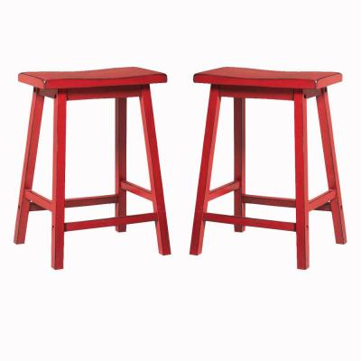 Benjara 24 in. H Red Wooden Counter Height Stool with Angled Block Legs (Set of 2)