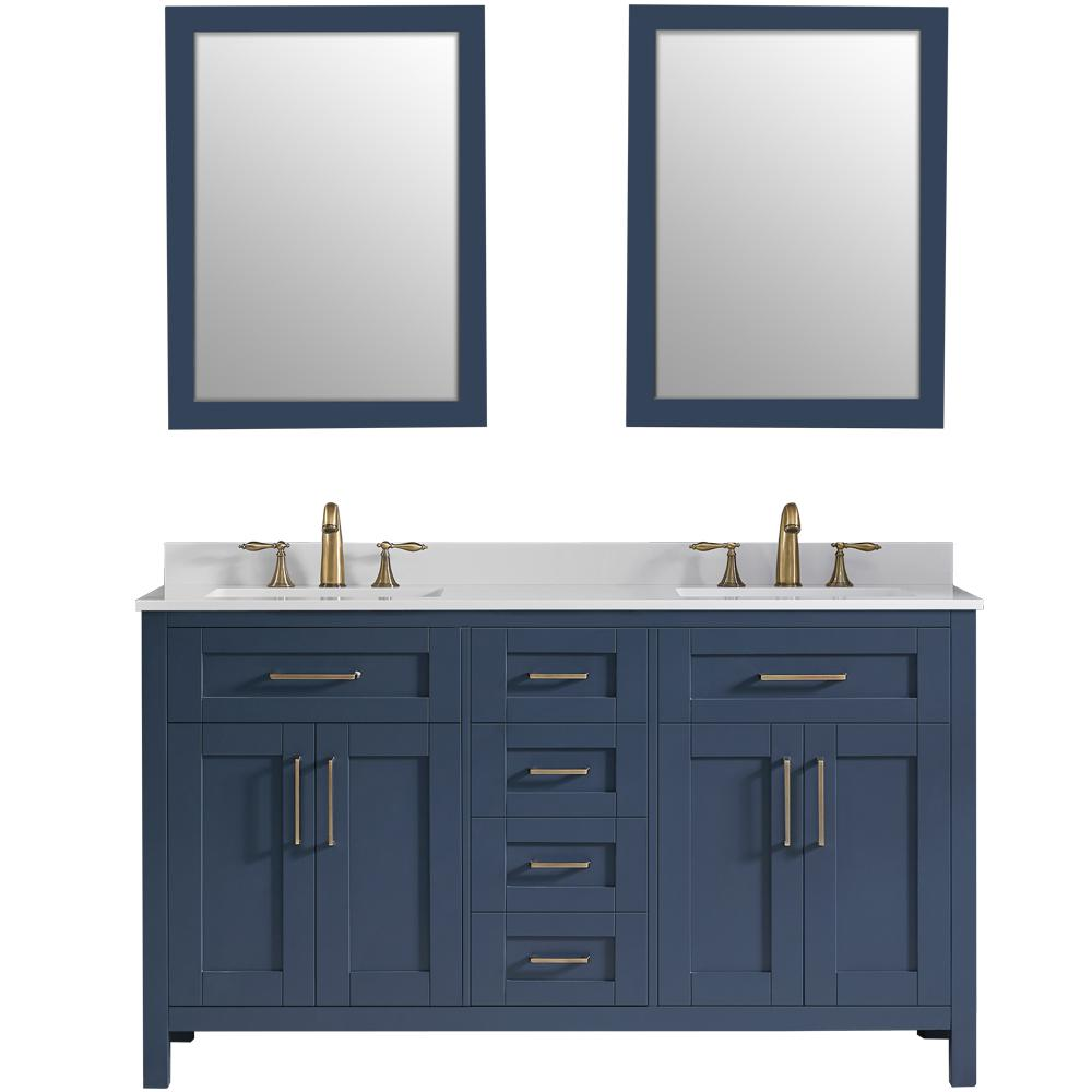 OVE Decors Tahoe 60 in. W Bath Vanity in Midnight Blue with Cultured Stone Vanity Top in White with White Basins and Mirrors