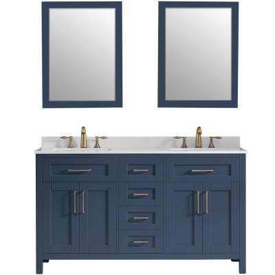 Tahoe 60 in. W Bath Vanity in Midnight Blue with Cultured Stone Vanity Top in White with White Basins and Mirrors