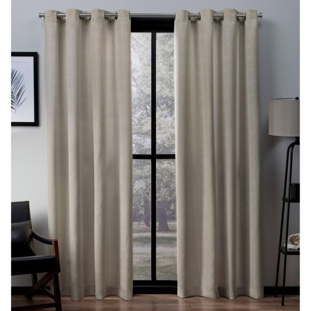 Virenze 54 In W X 96 L Faux Silk Grommet Top Curtain Panel Taupe 2 Panels Eh7969 06 96g The Home Depot