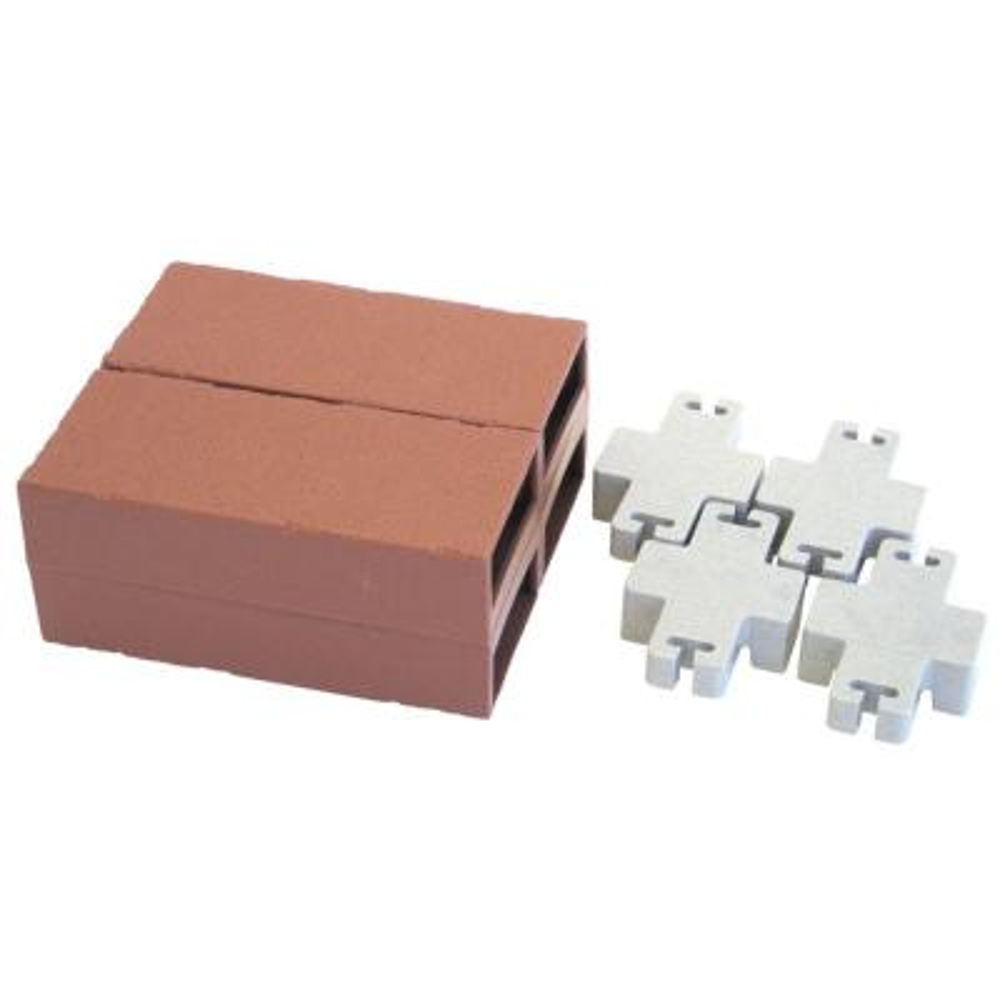 Unlit Bricks and 4 Connectors (No Solar Cubes) for Let's Edge It! Plastic Brick Edging (Set of 4)