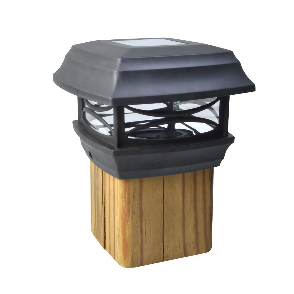 Patio Deck Post Lights: Moonrays Solar Black Outdoor Integrated LED Post Cap Deck