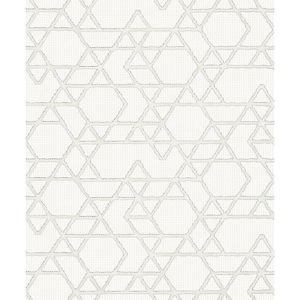 8 in. x 10 in. Montego Off-White Geometric Wallpaper Sample