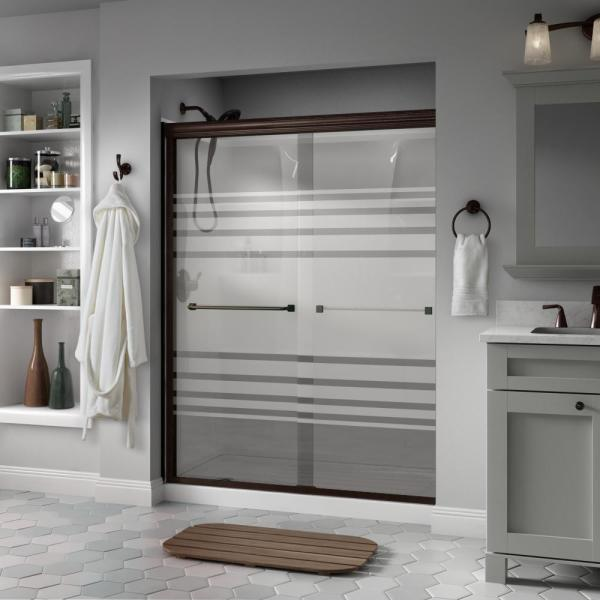Everly 60 in. x 70 in. Semi-Frameless Traditional Sliding Shower Door in Bronze with Transition Glass